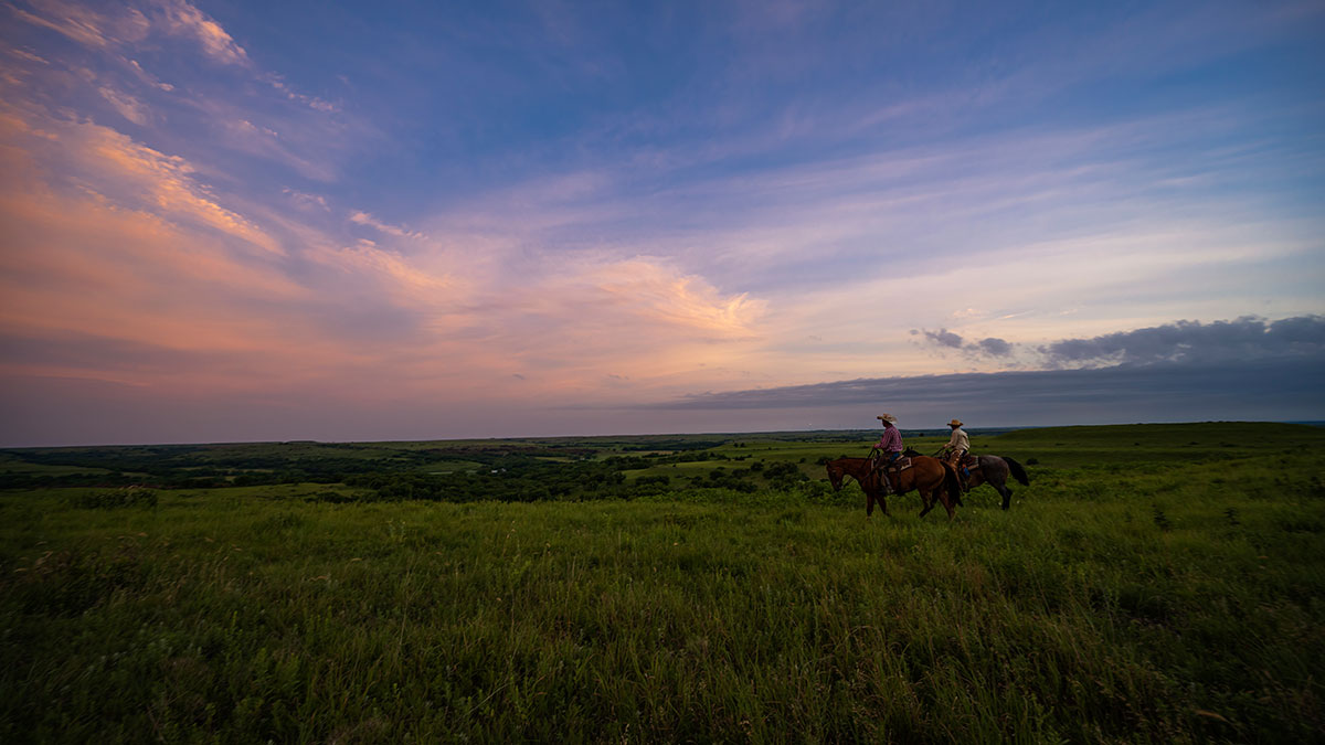 ranchers riding horses in kansas